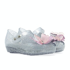 Melissa Mini Ultragirl Butterfly Girl's Sandals - Silver Glitter