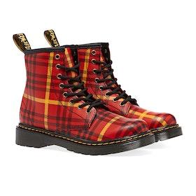 Dr Martens 1460 Tartan Kid's Boots - Red Backhand Strawgrain