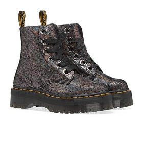 Dr Martens Molly Damen Stiefel - Gunmetal Iridescent Crackle