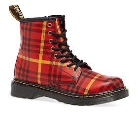 Dr Martens 1460 Tartan Kids Boots - Red Backhand Strawgrain