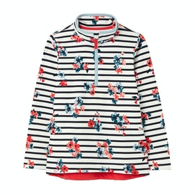 Joules Fairdale Half Zip Girls Sweater - White Stripe Posey