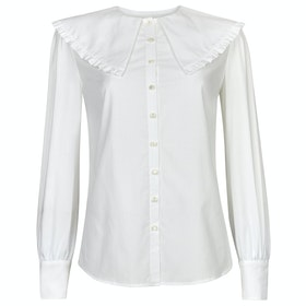 Maglietta Donna Troy London The Cape Collar Blouse - White