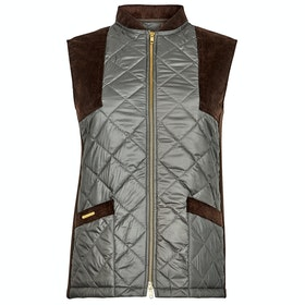 Troy London The Country Quilted Gilet Damen Thermoweste - Green Brown