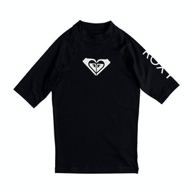 Roxy Whole Hearted Short Sleeve Girls Rash Vest - Anthracite