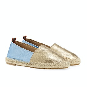 Dress Shoes Penelope Chilvers Flat Metallic Leather Espadrilles - Champagne/Sky