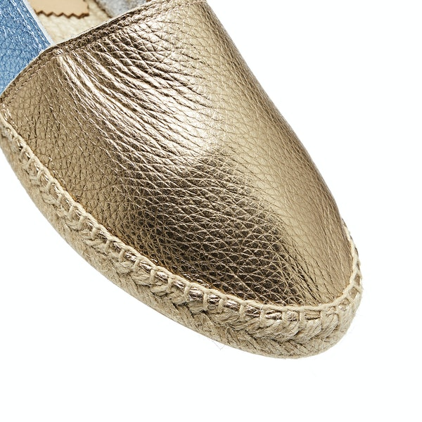 Penelope Chilvers Flat Metallic Leather Espadrilles Dress Shoes