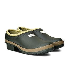 Hunter Mens Gardener Clog Wellington Boots - Dark Olive/clay