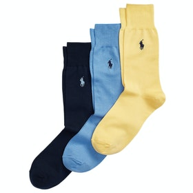 Skarpety Polo Ralph Lauren 3-Pack Mercerised Dress - Yellow / Blue / Navy