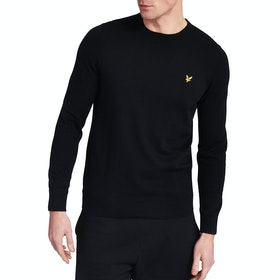 Lyle & Scott Vintage Crew Neck Cotton Merino Herren Pullover - Black