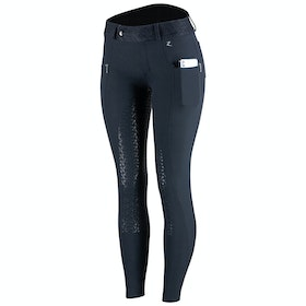 Horze Abrielle Silicone Full Seat Ladies Riding Breeches - Dark Blue
