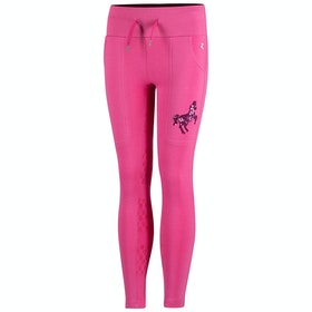 Riding Tights Enfant Horze Sabina Cotton Terry Silicone Full Seat - Shocking Pink