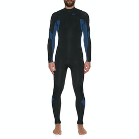 Quiksilver 3/2mm Syncro Chest Zip Wetsuit - Black Black Iodine Blue Iodine