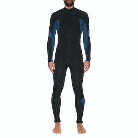 Quiksilver 4/3mm Syncro Chest Zip Wetsuit - Black Black Iodine Blue Iodine