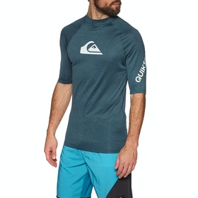 Quiksilver All Time Short Sleeve Rash Vest - Majolica Blue Heather