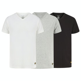 Lyle & Scott Parker Kurzarm-T-Shirt - Black Grey Marl Bright White