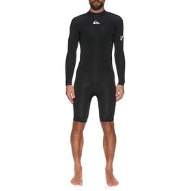 Quiksilver 2mm Syncro Back Zip Long Sleeve Shorty Wetsuit - Black White