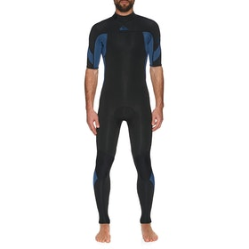 Quiksilver 2/2mm Syncro Back Zip Short Sleeve Wetsuit - Black/Iodine Blue