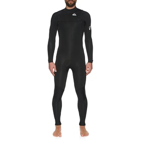 Quiksilver 3/2mm Syncro Chest Zip Wetsuit - Black White