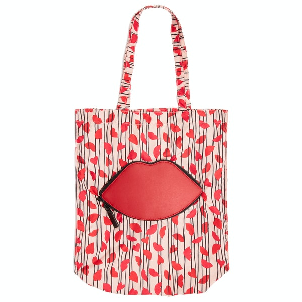 Lulu Guinness Lips And Heart Stripe Foldaway Damen Einkaufstasche