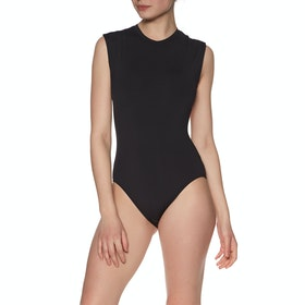 Seafolly Active Cap Sleeve Maillot Black Womens Swimsuit - Black