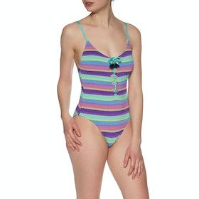 Seafolly Bajastripe V Neck Maillot Purple Haze Womens Swimsuit - Purple Haze
