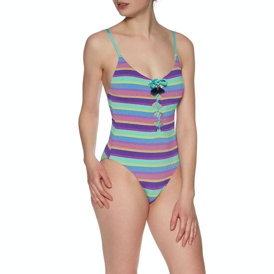 Seafolly Bajastripe V Neck Maillot Purple Haze Dame Svømmedragt