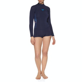 Combinaison de Surf Femme Roxy 2/2mm Syncro Series Long-Sleeve Back-Zip Shorty - Blue Ribbon Coral Flame