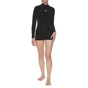 Roxy 2/2mm Syncro Series Long-Sleeve Back-Zip Shorty Womens Wetsuit - Black Gun Metal