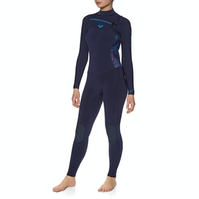 Roxy 3/2mm Syncro Series Chest-Zip Womens Wetsuit - Blue Ribbon Coral Flame