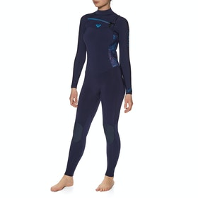 Roxy Syncro Series 4/3mm 2019 Chest Zip Womens Wetsuit - Blue Ribbon Coral Flame