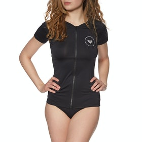 Roxy Essential Short Sleeve Zip Womens Rash Vest - Anthracite