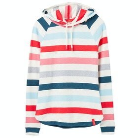 Joules Marlston Ladies Pullover Hoody - Cream Pink Stripe