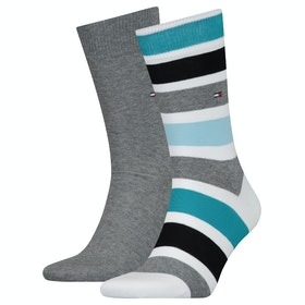 Calze Tommy Hilfiger 2 Pack Colorblock Stripe - Real Teal