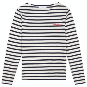 Maison Labiche Sailor Shirt Bonjour Women's Long Sleeve T-Shirt - Ivory Navy
