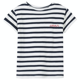 Maison Labiche Sailor Shirt Amour Women's Short Sleeve T-Shirt - Ivory Navy