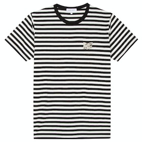 Maison Labiche Striped Newspaper Men's Short Sleeve T-Shirt - Black Off White