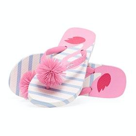 Joules Jnr Flip Flop Girls Sandals - White Flamingo