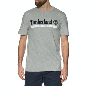 T-Shirt a Manica Corta Timberland Yc Established 1973 - Medium Grey Heather-white