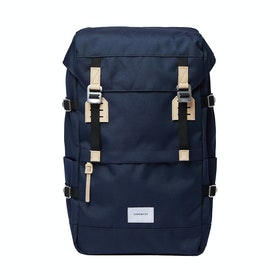 Sandqvist Harald Backpack - Navy With Natural Leather