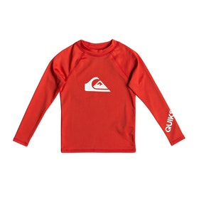 Quiksilver All Time UPF 50 Boys Rash Vest - High Risk Red