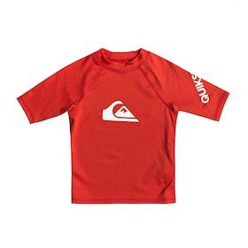 Quiksilver All Time Short Sleeve Boys Rash Vest - High Risk Red
