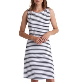 Barbour Dalmr Stripe Ladies Dress - White Navy