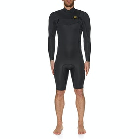 Billabong 2mm Absolute Chest Zip Long Sleeve Shorty Wetsuit - Antique Black