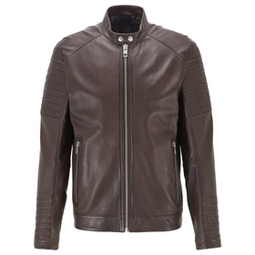 BOSS Jordon 1 Leather Jacket - Dark Brown