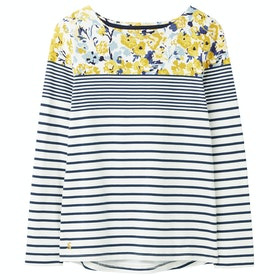 Joules Harbour Print Dames T-Shirt Lange Mouwen - Cream Blue Floral Border