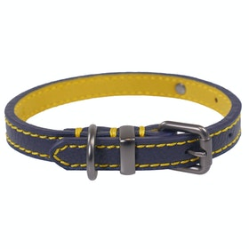 Joules Leather Dog Collar - Navy