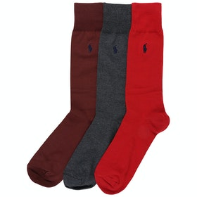 Polo Ralph Lauren 3 Pack Crew Socks - Pion Red Dark Charcoal Classic Wine