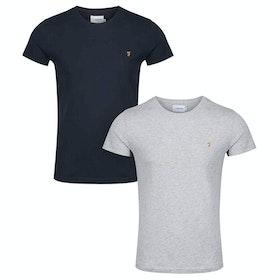 Farah Farris Twin Pack Short Sleeve T-Shirt - Grey Marl True Navy