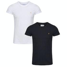 Farah Farris Twin Pack Short Sleeve T-Shirt - White Black