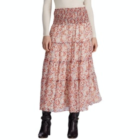 Lauren Ralph Lauren Georgette Peasant Skirt - Dark Raspberry Multi